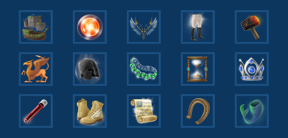 Realistic icons made for a game about Atlantis.